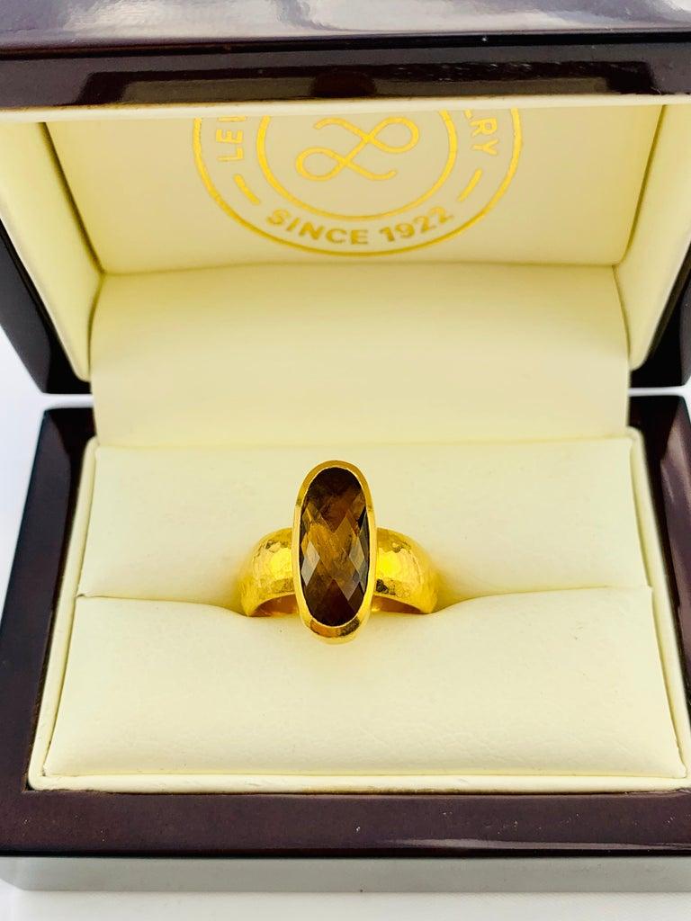 Designer Gurhan Hammered 24 Karat Yellow Gold and Smoky Quartz Ring For Sale 3