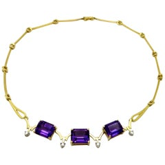 Designer H. Stern Amethyst and Diamond 18 Karat Choker Fashion Necklace