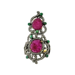 Designer Hand Craved Ruby Ring with Diamonds and Emeralds in Gold and Silver