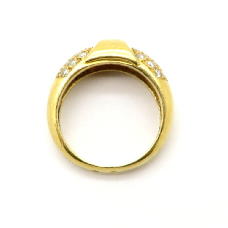 Designer Hermes Paris Pavé Diamond 18 Karat Yellow Gold Ring In Excellent Condition In Scottsdale, AZ