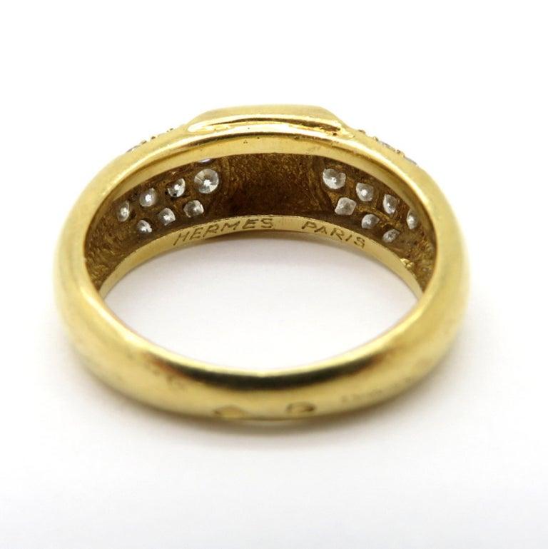 Women's Designer Hermes Paris Pavé Diamond 18 Karat Yellow Gold Ring