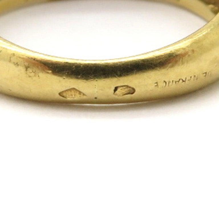 Designer Hermes Paris Pavé Diamond 18 Karat Yellow Gold Ring 1