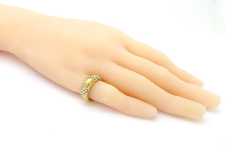 Designer Hermes Paris Pavé Diamond 18 Karat Yellow Gold Ring 2