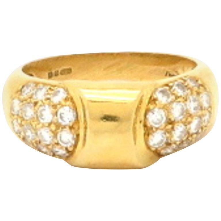 Designer Hermes Paris Pavé Diamond 18 Karat Yellow Gold Ring