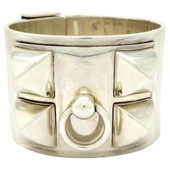 Designer Hermes Sterling Silver Collier de Chien Cuff Bangle Bracelet