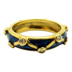 Designer Hidalgo Bezel Diamond and Blue Enameled 18 Karat Gold Eternity Band