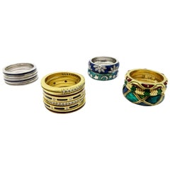 Designer Hidalgo lot of 15 Enameled Stackable 18K Yellow and White Gold Rings
