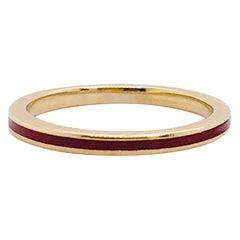 Designer Hidalgo Original Red Enamel 18K Yellow Gold Ring, Hidalgo Gold Band 18K