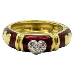 Designer Hidalgo Red Enamel and Diamond Heart Eternity Band Ring 18 Karat Gold