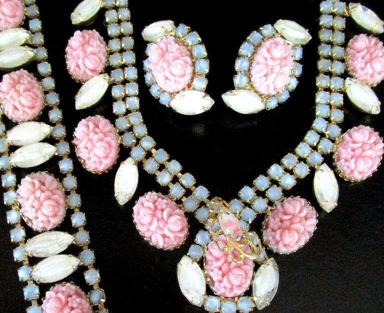 Vintage Designer Hobé Signed Pink Floral and Givre Rhinestone Necklace, Bracelet and Clip-on Earrings set. Hand crafted and Hand set with white and blue givre rhinestones and amazing molded pink glass floral stones. All pieces Signed: HOBE. Necklace