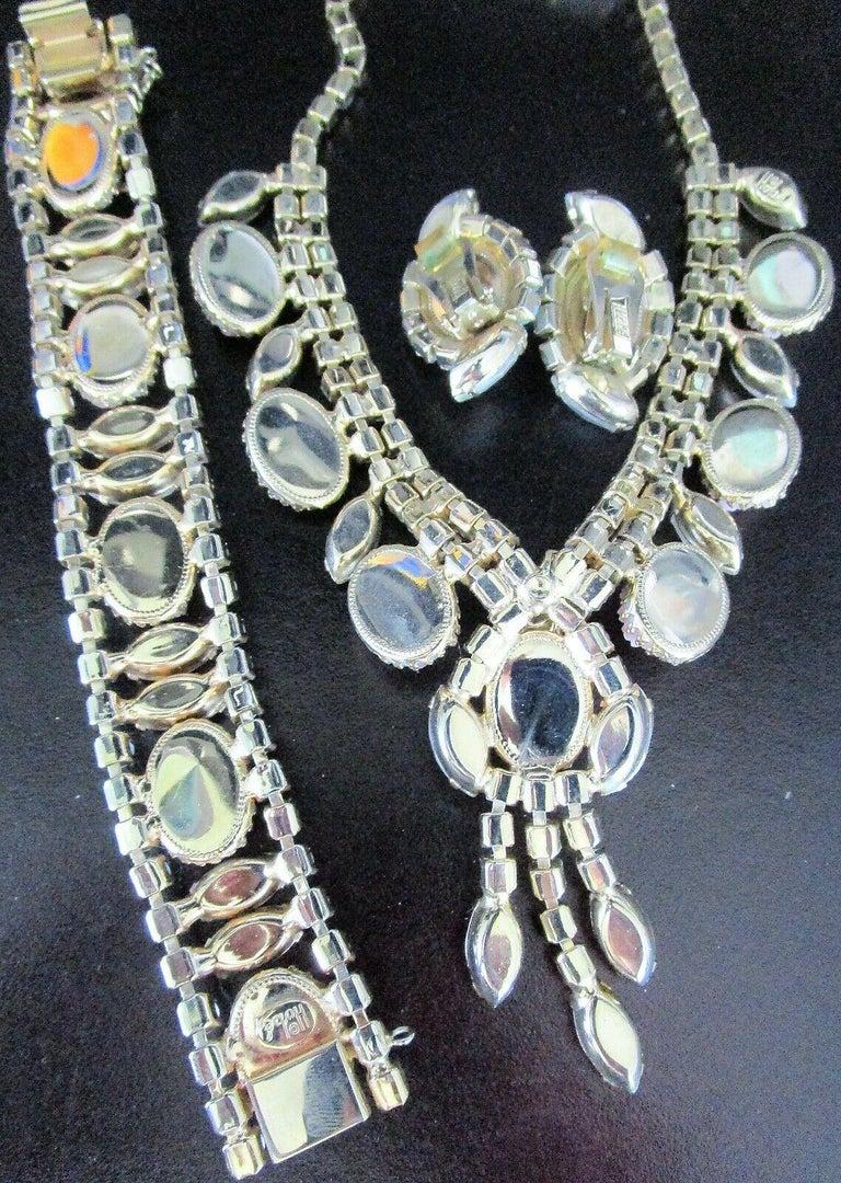 Modernist Designer Hobé Signed Pink Floral and Givre Rhinestone Necklace Bracelet Earrings For Sale