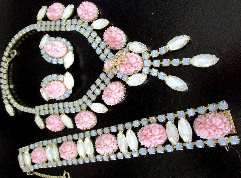 Mixed Cut Designer Hobé Signed Pink Floral and Givre Rhinestone Necklace Bracelet Earrings For Sale