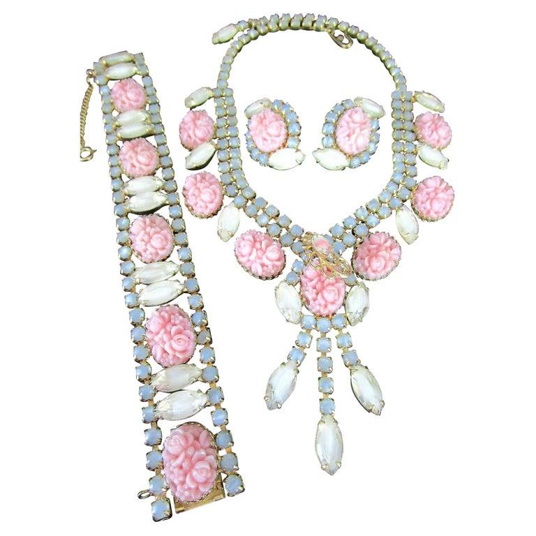 Designer Hobé Signed Pink Floral and Givre Rhinestone Necklace Bracelet Earrings For Sale