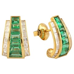 Designer Hoop Studs Baguette Emerald and Diamond Earring Set in 18K Yellow Gold