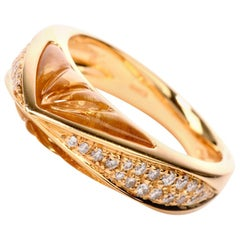 Designer IO SI Diamond Carved Quartz 18 Karat Gold Fancy Italian Ring
