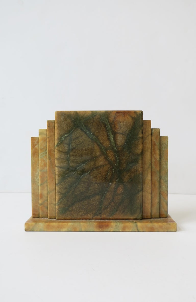 Designer Italian Alabaster Marble Art Deco Modern Mantel Clock by Oggetti For Sale 6