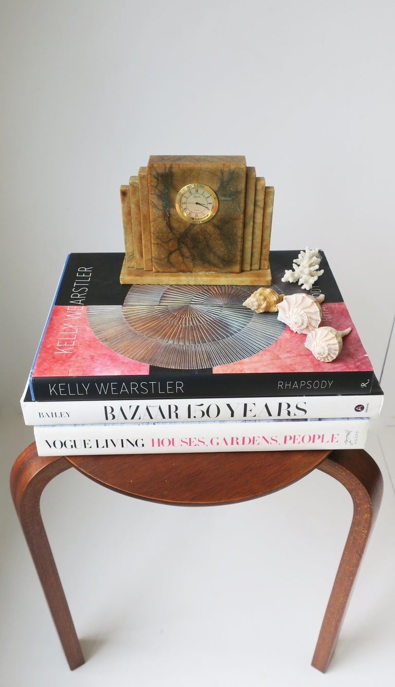 Late 20th Century Designer Italian Alabaster Marble Art Deco Modern Mantel Clock by Oggetti For Sale