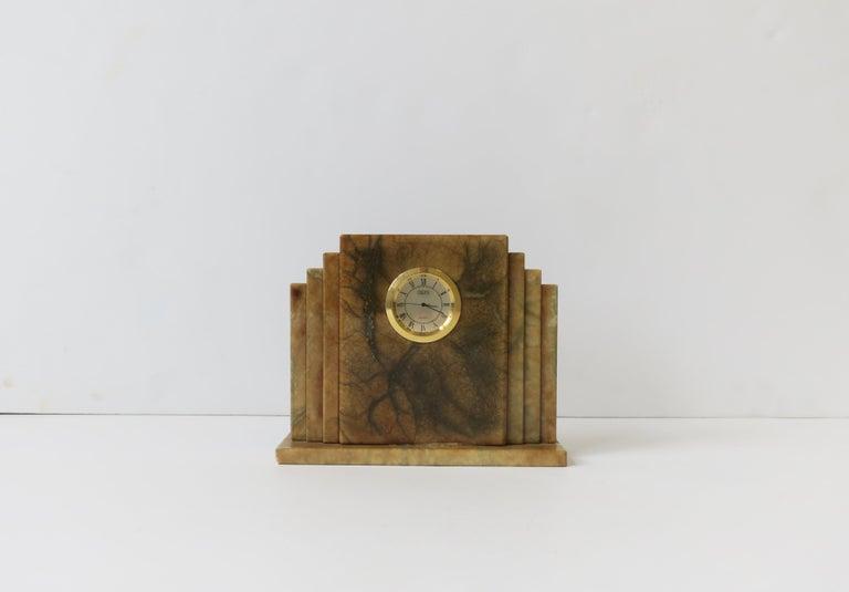 Designer Italian Alabaster Marble Art Deco Modern Mantel Clock by Oggetti For Sale 1