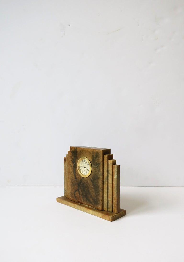 Designer Italian Alabaster Marble Art Deco Modern Mantel Clock by Oggetti For Sale 2