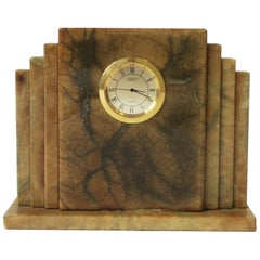 Designer Italian Alabaster Marble Art Deco Modern Mantel Clock by Oggetti