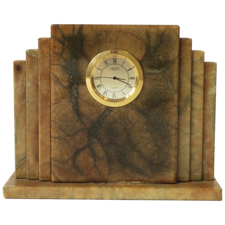 Designer Italian Alabaster Marble Art Deco Modern Mantel Clock by Oggetti For Sale