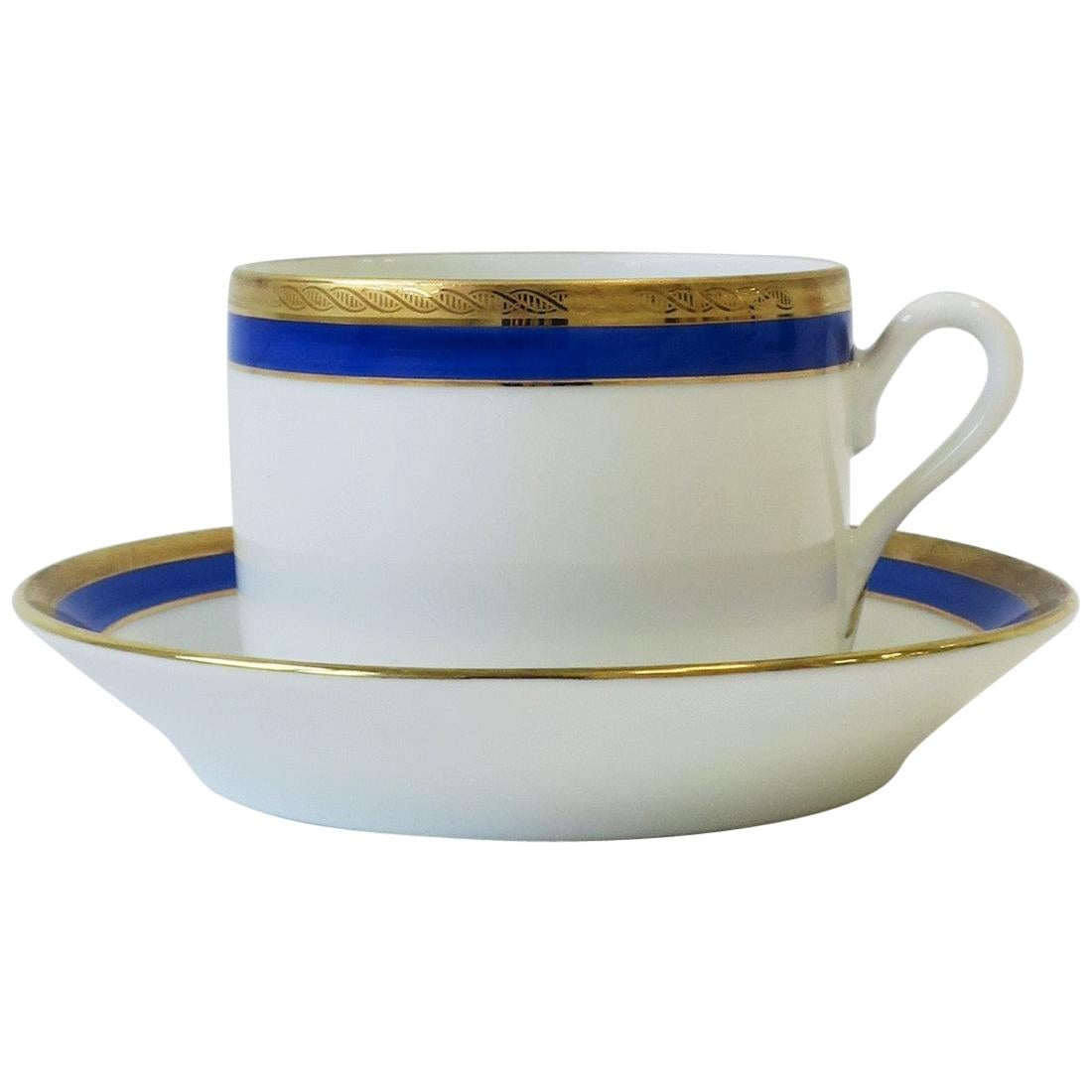 Richard Ginori Designer Italian Coffee or Tea Cup and Saucer in Blue and Gold