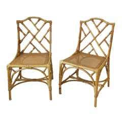 Designer Italian Cane and Bamboo Wicker Rattan Side Chairs, Pair