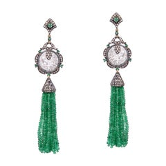 Designer Jade, Emerald and Diamond Tassel Dangling Earring in Silver and Gold