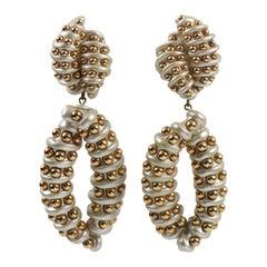 Designer Jewellians Oversized Pearlized Resin Dangle Clip Earrings