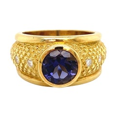 Designer Judith Ripka Violet Iolite and Diamond Gold Ring Estate Fine Jewelry