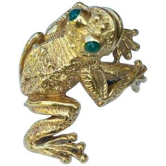 Designer Kurt Wayne Whimsical Large Heavy 18 Karat Yellow Gold Frog Ring