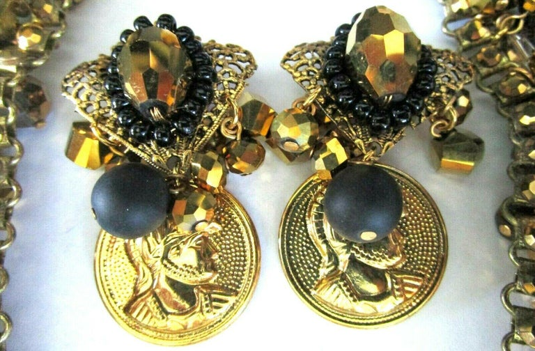 Awesome Rare Lawrence Vrba Designer Necklace and matching clip Earrings featuring Topaz and Black Crystals and Gold tone faux Coins Necklace measures 18