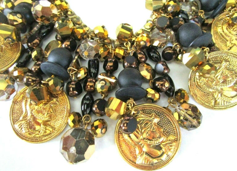 Modernist Designer Lawrence Vrba Black and Gold Crystal Golden Coin Necklace and Earrings For Sale