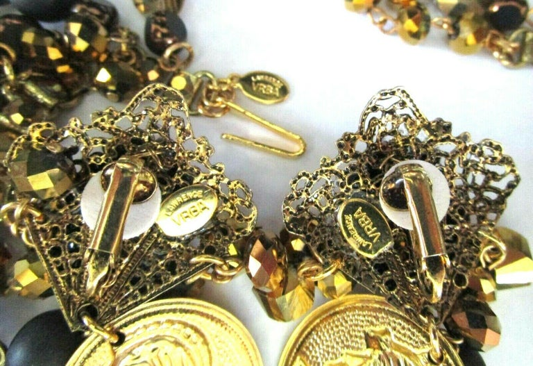 Mixed Cut Designer Lawrence Vrba Black and Gold Crystal Golden Coin Necklace and Earrings For Sale