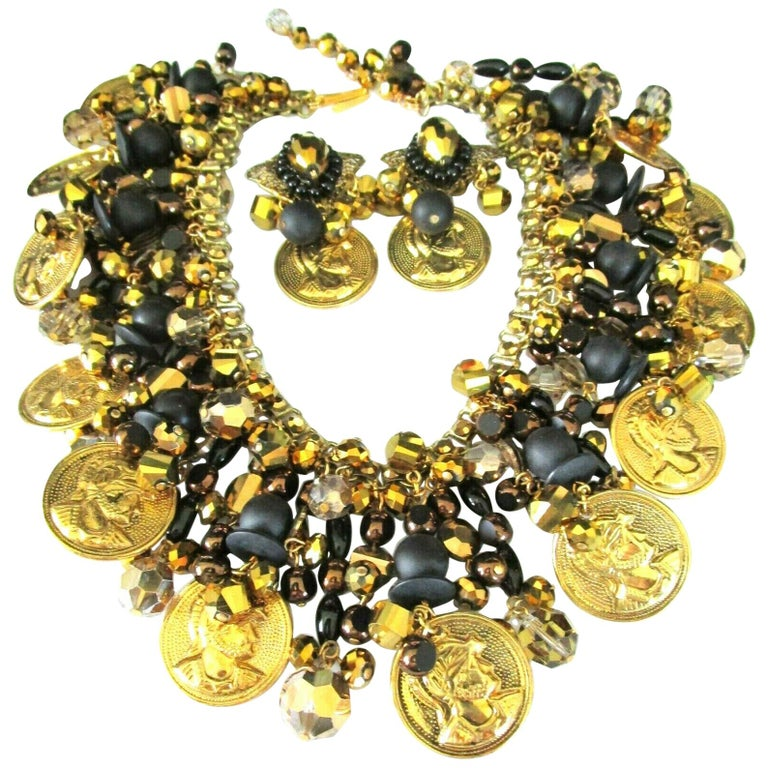 Designer Lawrence Vrba Black and Gold Crystal Golden Coin Necklace and Earrings For Sale