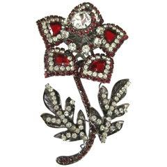 Designer Lawrence Vrba Signed Red Rhinestone Sparkling Crystal Flower Brooch Pin