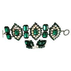 Designer Lawrence Vrba Vintage Emerald Green Rhinestone CZ Bracelet and Earrings