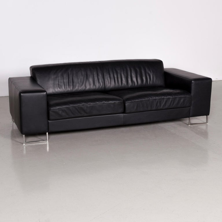 We bring to you a designer leather sofa black three-seat.