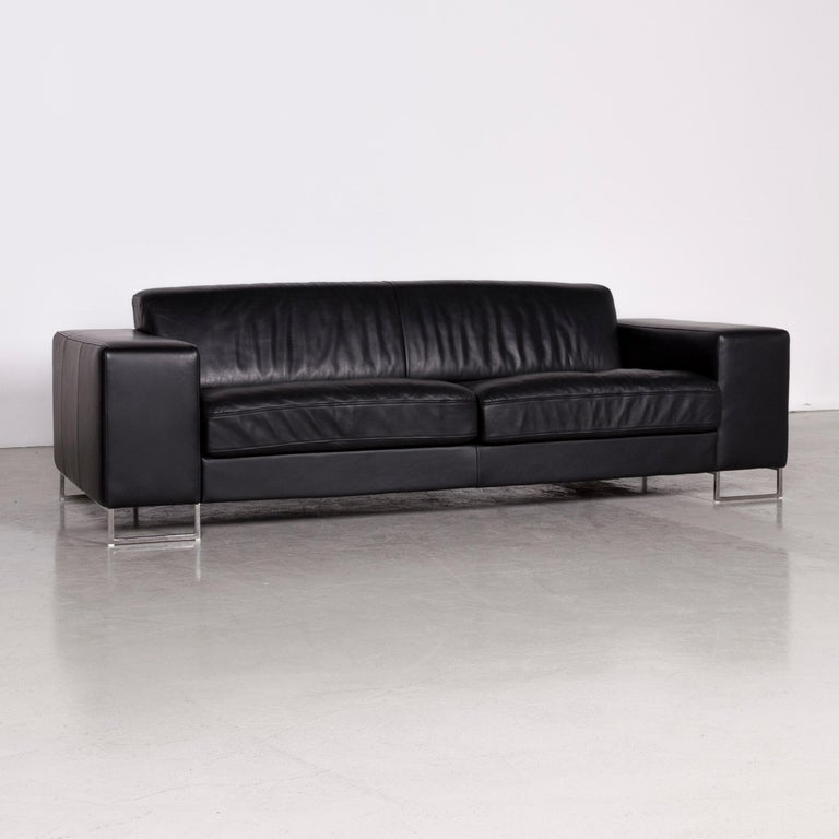 German Designer Leather Sofa Black Three-Seat Couch