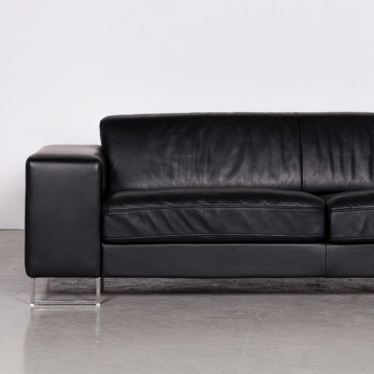 Designer Leather Sofa Black Three-Seat Couch In Good Condition In Cologne, DE