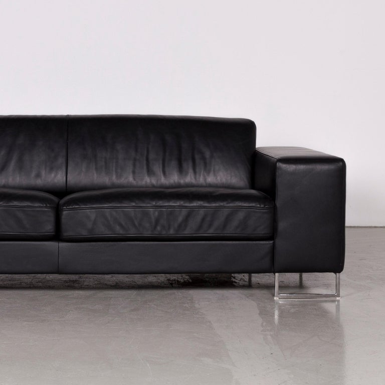 Contemporary Designer Leather Sofa Black Three-Seat Couch