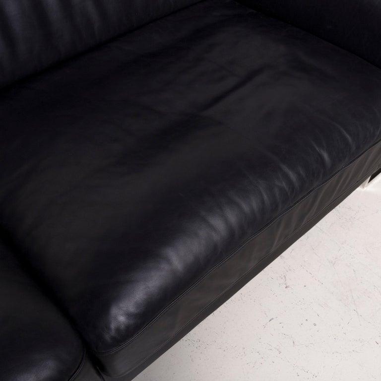 Designer Leather Sofa Black Three-Seat Couch 1