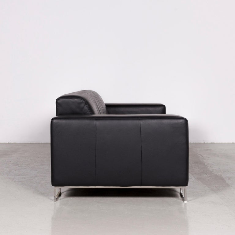 Designer Leather Sofa Black Three-Seat Couch 2