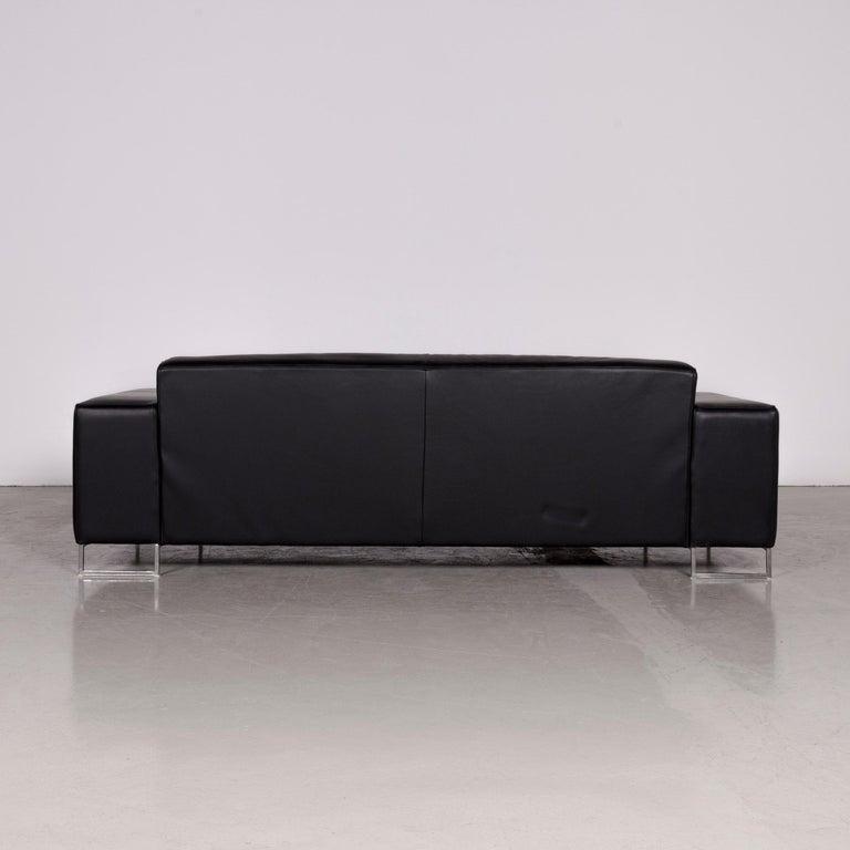 Designer Leather Sofa Black Three-Seat Couch 3