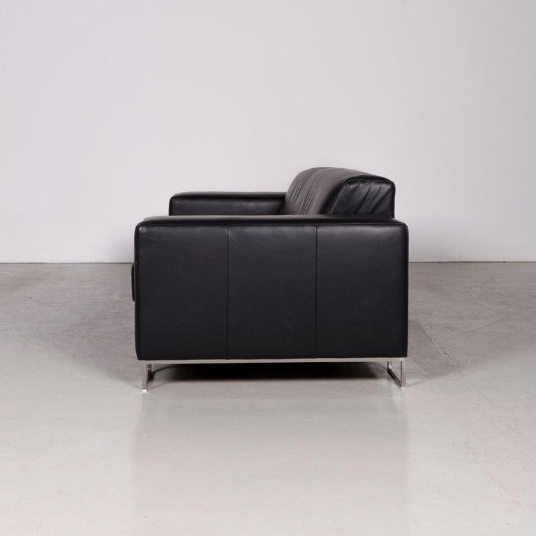 Designer Leather Sofa Black Three-Seat Couch 4