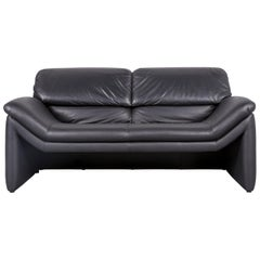 Designer Leather Sofa Black Two-Seat Function