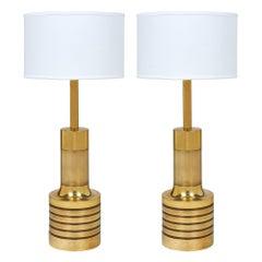 Designer Maison Valenti Midcentury Vintage Brass Table Lamps