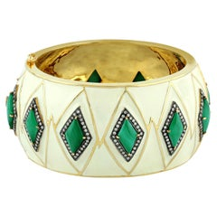 Designer Malachite Diamond Enamel Cuff Bangle in Gold and Silver