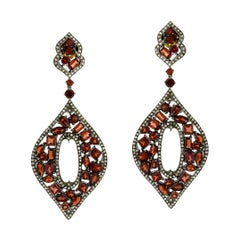 Designer Marquee Mosaic Garnet and Diamond Dangle Earring in Silver and Gold