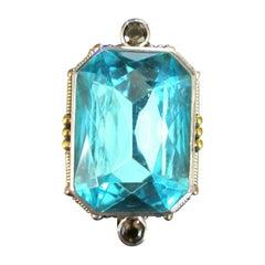 Designer Mars & Valentine Faux Blue Topaz Sterling Silver Cocktail Ring